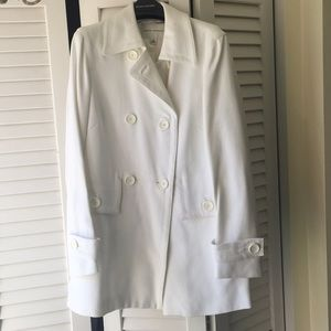 Jackets & Blazers - Banana Republic White Cotton Pique Pea Coat